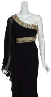 size 14 sensational grecian style black silk evening gown one shoulder