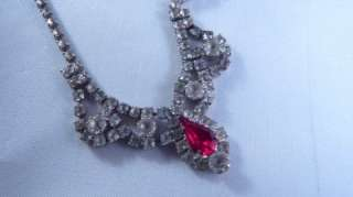 Red clear RHINESTONE necklace earrings SET bridal Valentines NICE