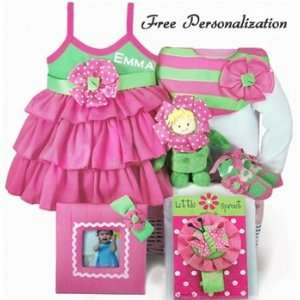 Free Personalizaion Lile Sprou Baby Girl Pink & Green