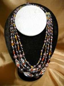 VTG Art Deco Necklace Foil Glass Beads   Czech 4 Strand   Amber