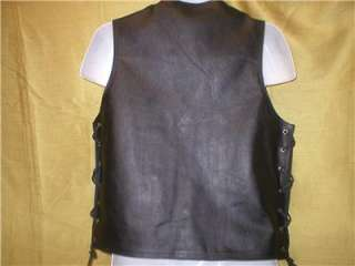 Men Black Leather Motorcycle Biker Vest Conceal GUN Pocket size S M L