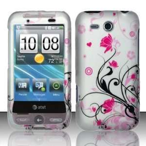 HTC FREESTYLE AT&T Pink FLOWER white HARD COVER CASE