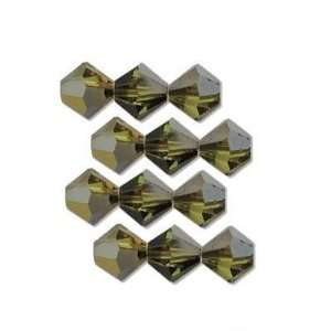 12 Citrine Cathedral Swarovski Crystal Bicone Beads 4mm