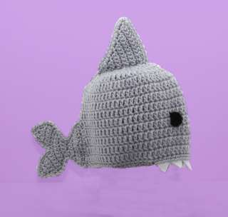Shark Hat, Gray Crochet Beanie, Send Size Baby   Adult