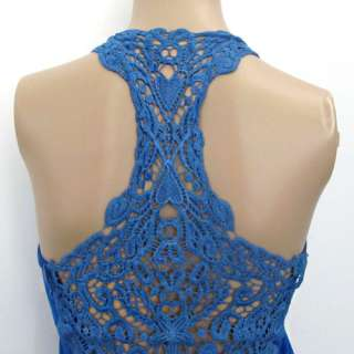Women Crochet Lace Back Tank Top Sleeveless T shirt Vest Cami Hollow