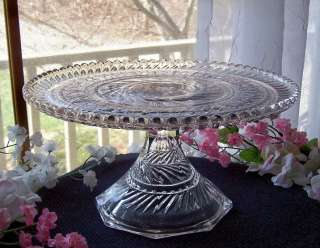 EAPG ANTIQUE FOSTORIA GLASS PEDESTAL CAKE STAND PATT#1467 VIRGINIA