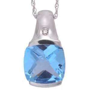White Gold Cushion Cut Blue Topaz and Diamond Half Bezel Pendant, 16