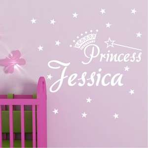 GIRL CHILD NAME PRINCESS TIARA CROWN Vinyl Wall Decal Decor