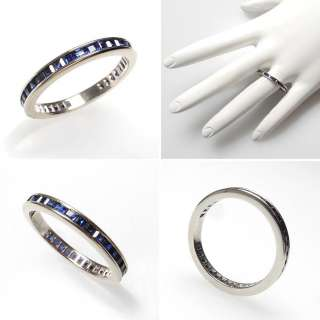 Natural Blue Sapphire Eternity Style Wedding Band Ring Solid 14k White