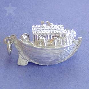 NOAHS ARK OPENS ANIMALS Sterling Silver Charm Pendant