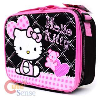 Sanrio Hello Kitty school Backpack Lunch Bag black pink Love Teddy