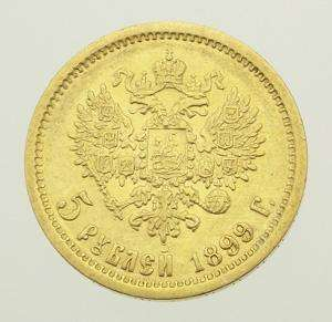 Authentic 1899 Russia Russian Nicholas II 5 Rubles Gold Coin NR