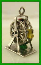 Vintage STERLING Silver 40s FERRIS WHEEL Charm SPINS