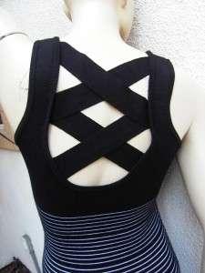 & White Stripe Criss Cross back bandage style Mini Club Dress sz M