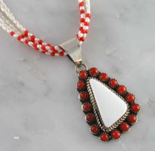 Yazzie Sterling Silver White Buffalo Coral Pearl Necklace Jewelry