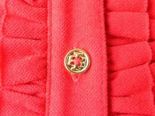 Tory Burch Russian Red Romilly Polo L/S Top NWT XL Gold Metal Logo