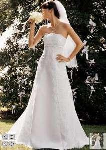DAVIDS BRIDAL WEDDING DRESS GOWN SZ 12 STUNNINGL@@K WOW PETITE
