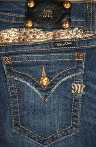 SZ 28 MISS ME Gold Wings & Gold Crystals * Button Flap Boot Cut Jeans