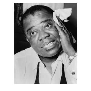 Louis Armstrong, African American Jazz Musician, with His Signature