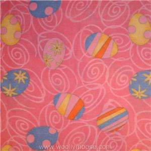 HALF YARD Debbie Mumm EASTER EGG Pink Swirls 60 Holiday Fleece Fabric