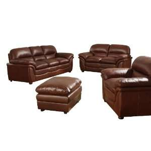 Baxton Studio Redding Cognac Leather Modern Sofa Set