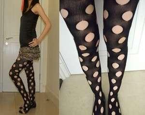 black fishnet holes pantyhose tights punk rock goth h07