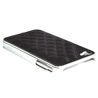 Black Deluxe Leather Chrome Case Cover for Apple iPhone 4S 4 4G W