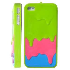 Melt Ice Cream Hard Case for iPhone 4S/iPhone 4 (Baby Green+Rose+Blue)