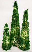 VALERIE PARR HILL SET OF 3 PRELIT GREEN CONE SHAPE BEADED TABLETOP