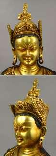 Old Tibetan 24k Gilt Bronze Guru Rinpoche Statue