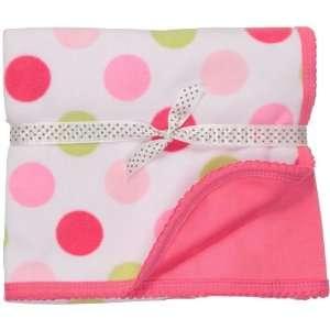 30 Reversible Fleece Baby Blanket Polka Dot Design (One Size) Baby