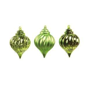 Pack of 12 Natures Glow Green Teardrop Glass Christmas