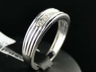 MENS WHITE GOLD ROUND CUT CHANNEL SET DIAMOND WEDDING BAND RING 1/4 CT