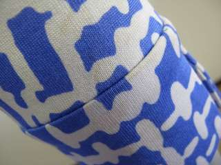Diane Von Furstenberg Vintage Blue/White Printed Long Sleeve Wrap