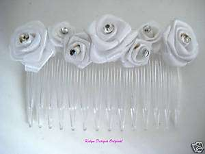 White Ribbon Rose w/ Rhinestone Hair Comb~ Bridal Veil