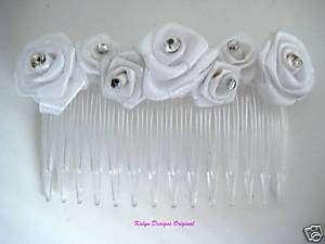 White Ribbon Rose w/ Rhinestone Hair Comb~ Bridal Veil