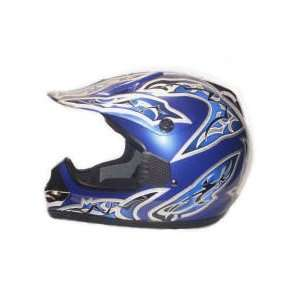 Motocross MX Dirt Bike ATV Blue Pattern Motorcycle Helmet