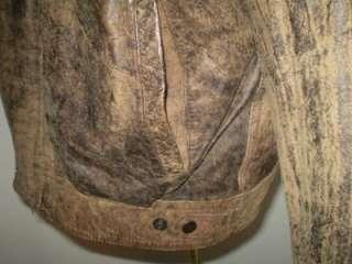 vtg 80s nu wave punk leather bomber jacket sz L
