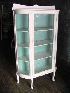 PAINTED OAK CURVED GLASS CHINA CABINET CLOSET C.1900 |
