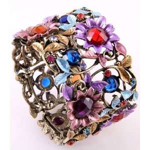 Fashion Jewelry Antique Metal Mixed Rhinestone Acrylic Jewelry Flower