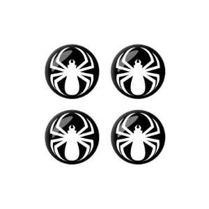 Spider White   Spiderman   Wheel Center Cap 3D Domed Set of 4 Stickers