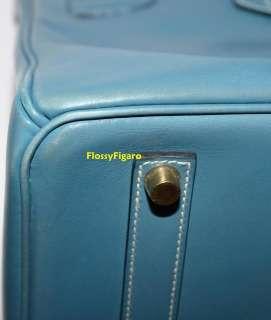 AUTHENTIC HERMES BIRKIN BLUE JEAN BOXCALF & GOLD HW 35   RARE
