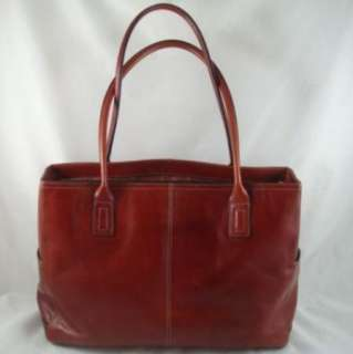 Reddish Brown Leather Fossil Tote Laptop Travel Soft Briefcase Bag