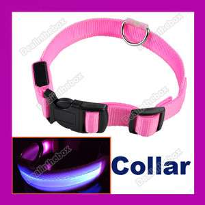 Hi Visibility Blue LED Dog Pet Flashing Light Up Safety Collar Pink