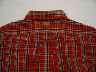 Lauren Mens PONY Shirt Plaid Red Green Tartan Button Down Rugby
