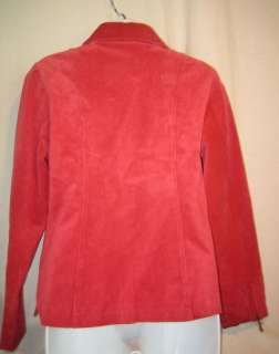 LIVE A LITTLE Coral red suede leather jacket   Petite M
