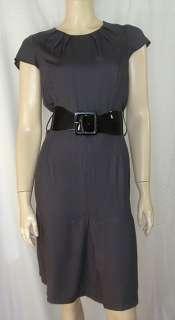 DOROTHY PERKINS DARK GREY CAP SLEEVE FITTED DRESS ELASTICATED BELT new