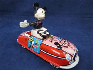 Rare Marx Tin Litho Wind Up Mickey Mouse The Driver Car