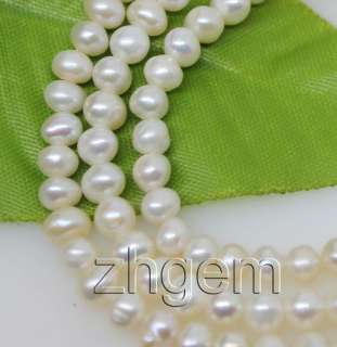 wholesale 5strands natural white pearl loose beads gem 4 5mm 14.5long