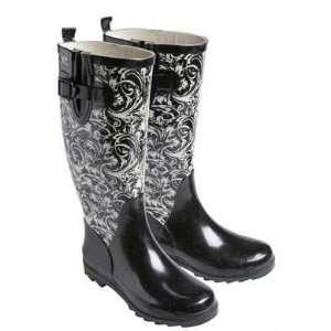Black & White Rain Boots   Floral SZ 5